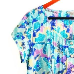 I Love H81 Retro Pastel Print Pleated Crop Blouse